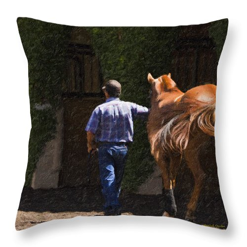 Del Mar Throw Pillow featuring the painting Peace Before The Race - Del Mar Horse Race by Angela Stanton