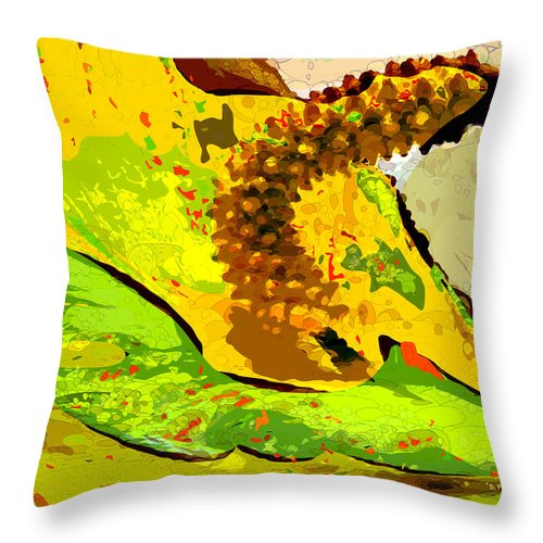 peace Lily' Throw Pillow featuring the photograph Peace Lily Waning by Dee Flouton