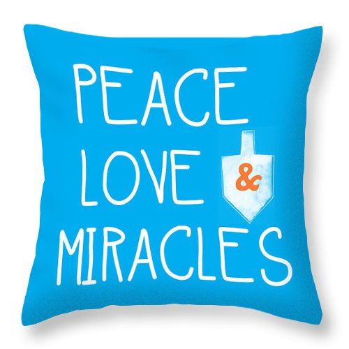 Peace Love And Miracles With Dreidel  Throw Pillow