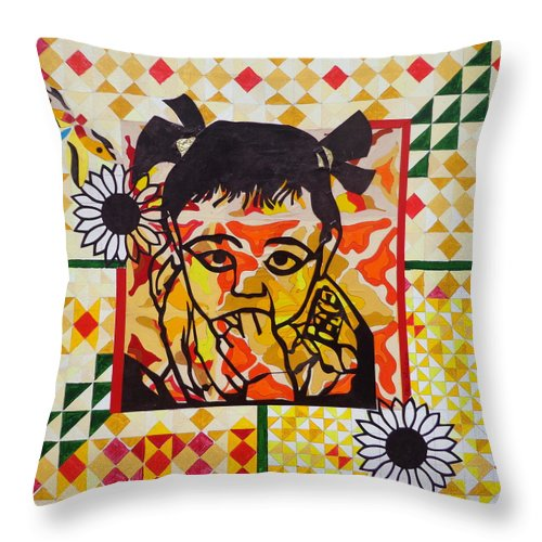 Child Throw Pillow featuring the painting Peace by Natalie Collins