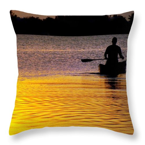 Canoes Throw Pillow featuring the photograph Peace Of Mind by Karen Wiles