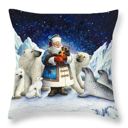 Santa Claus Throw Pillow featuring the painting Peace On Earth by Lynn Bywaters