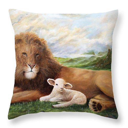 Christian Landscape Throw Pillow featuring the painting Peace by Robert Wright