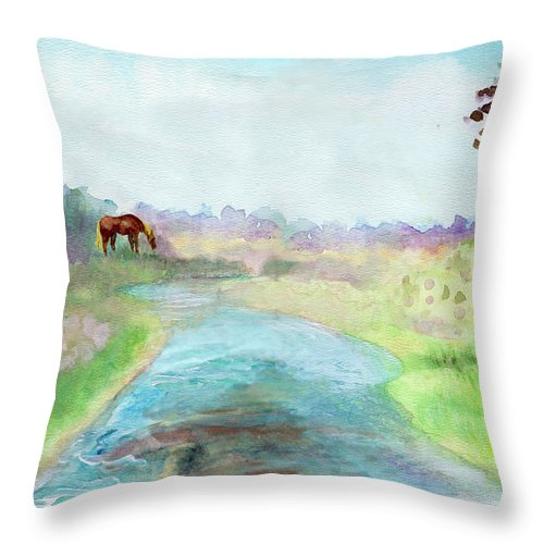 C Sitton Painting Paintings Throw Pillow featuring the painting Peaceful Day by C Sitton
