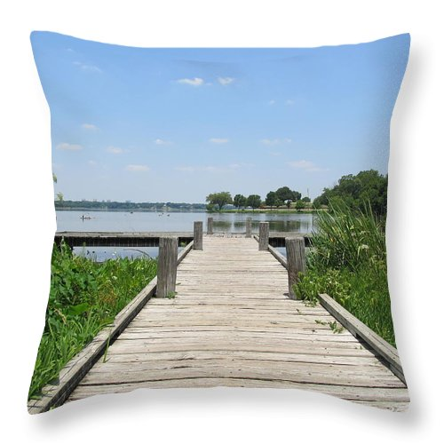 Lake Throw Pillow featuring the photograph Peaceful Fishing Dock by Donna Wilson