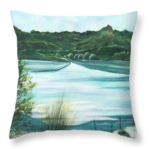 Lake Throw Pillow featuring the painting Peaceful Lake by Debbie Lewis