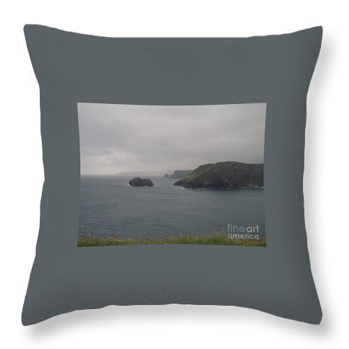 Kynance Cove Throw Pillow featuring the photograph Peaceful by Lisa Byrne