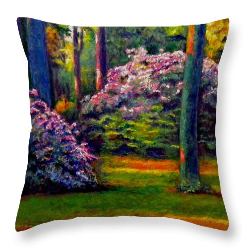 Forest Throw Pillow featuring the painting Peaceful Morning by Michael Durst