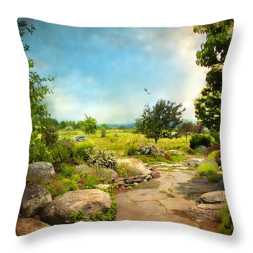 Landscape Throw Pillow featuring the photograph Peaceful Path by Jessica Jenney