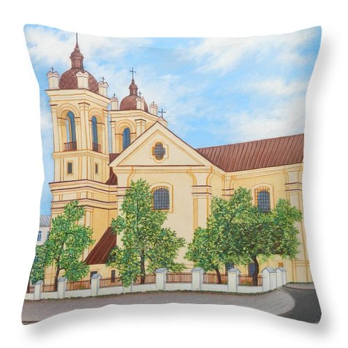Summer Throw Pillow featuring the painting Peaceful Summer Morning by Loreta Mickiene