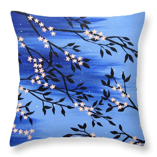 Peach Throw Pillow featuring the painting Peach Blossom by Cathy Jacobs