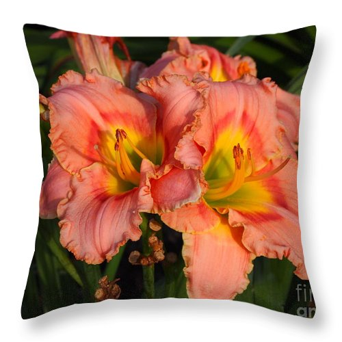 Peach Colored Lilies Throw Pillow For Sale By Deborah Fay