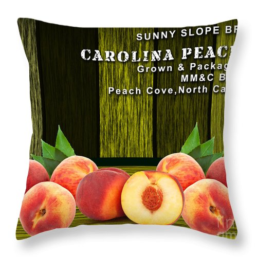 Peach Throw Pillow featuring the mixed media Peach Farm by Marvin Blaine