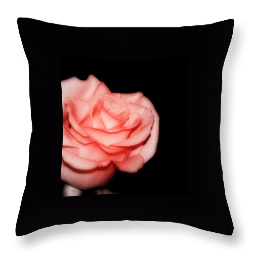 Digital Photography Throw Pillow featuring the photograph Peach Rose Portrait by Laurie Pike