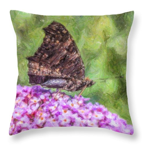 Small Tortoiseshell Butterfly Throw Pillow featuring the digital art Peacock Butterfly Inachis Io On Buddleja by Liz Leyden