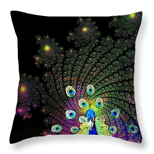 Peacock Throw Pillow featuring the photograph Peacock Explosion Display by Ellen Cannon
