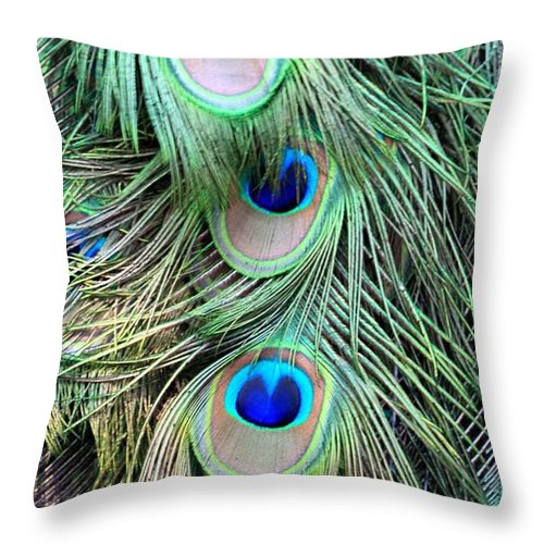Peacock Feathers Macro Close Up Nature Bird Colorful Eyes Photography Modern Superb Throw Pillow featuring the photograph Peacock Feathers by AR Annahita