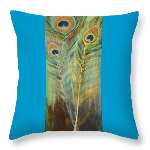 Peacock Throw Pillow featuring the painting Peacock Feathers by Carol Oufnac Mahan