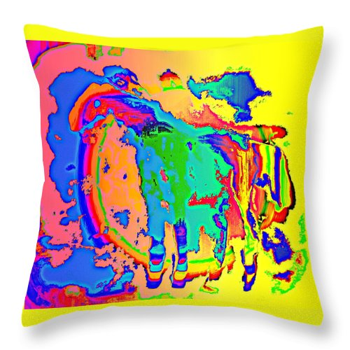 Fantasy Throw Pillow featuring the painting can you help me please, I'm a flying peacock by Hilde Widerberg