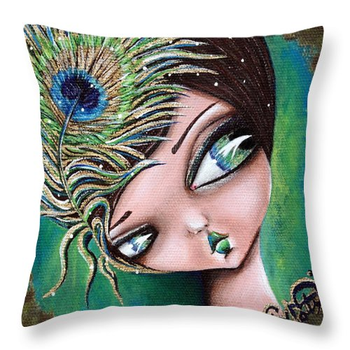 Pop Surrealism Throw Pillow featuring the painting Peacock Princess by Lizzy Love of Oddball Art Co