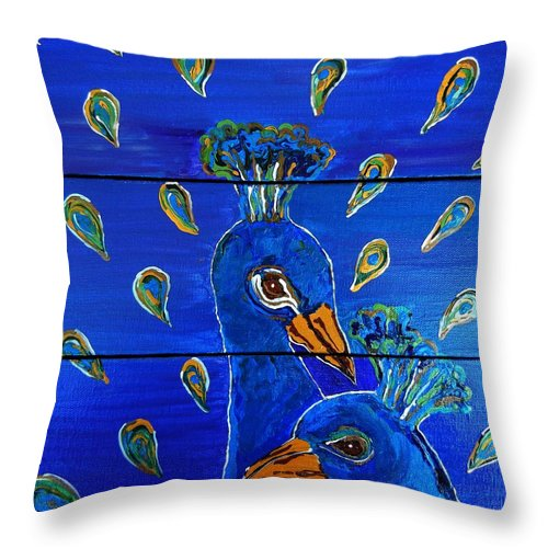 Peacock Throw Pillow featuring the painting Peacock Vi by Kruti Shah