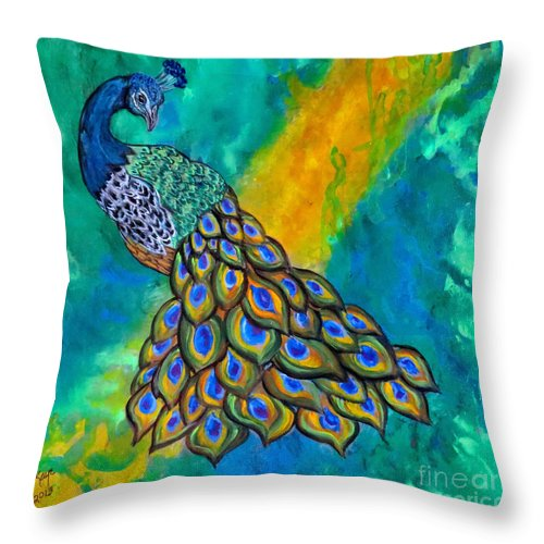 Peacock Throw Pillow featuring the painting Peacock Waltz II by Ella Kaye Dickey
