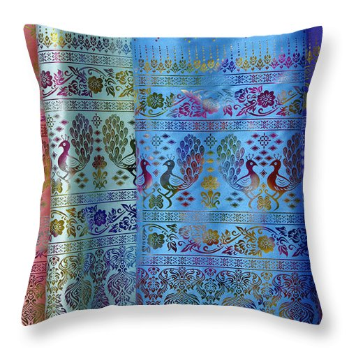 Asia Throw Pillow featuring the photograph Peacocks On Silk by Michele Burgess