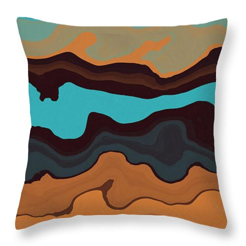 Peaks Throw Pillow featuring the digital art Peaks And Valleys 3 by David G Paul