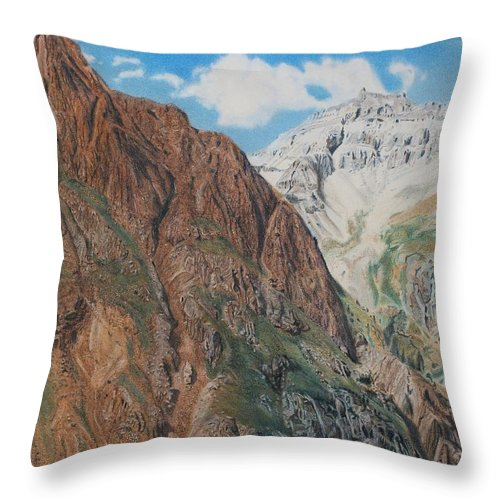 Colorado Throw Pillow featuring the pastel Peaks Of Ouray by Scott Kingery