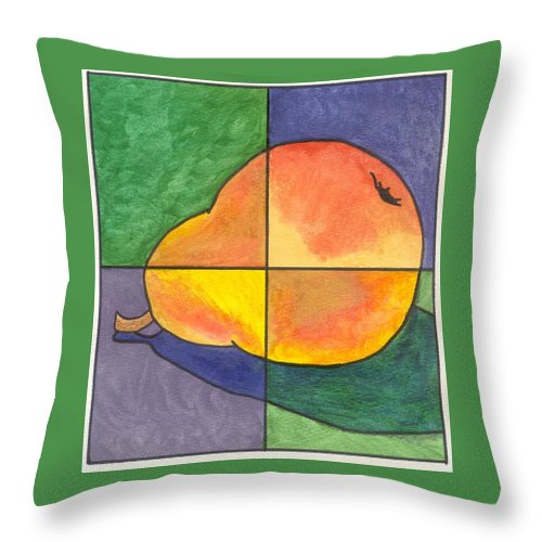 Pear Throw Pillow featuring the painting Pear II by Micah Guenther