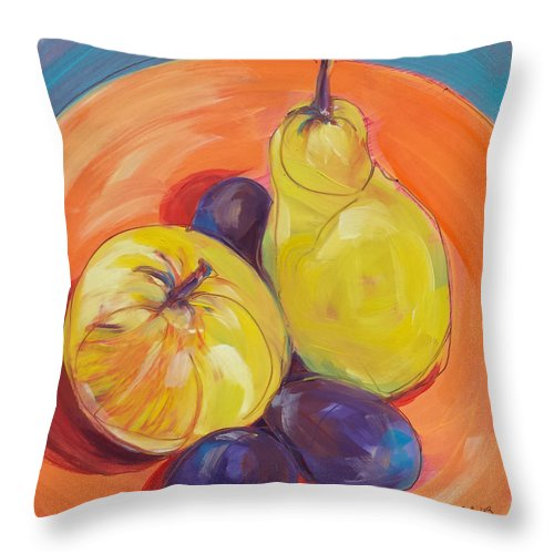 Pear Throw Pillow featuring the painting Pear Plums Apple by Pam Van Londen