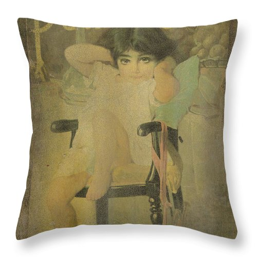 Vintage Throw Pillow featuring the photograph Pear Soap Girl by Betty LaRue