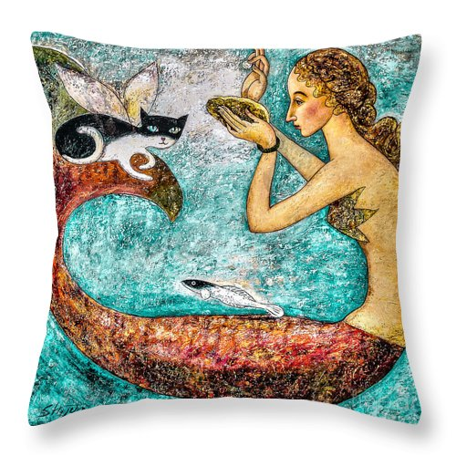 Mermaid Art Throw Pillow featuring the painting Pearl by Shijun Munns