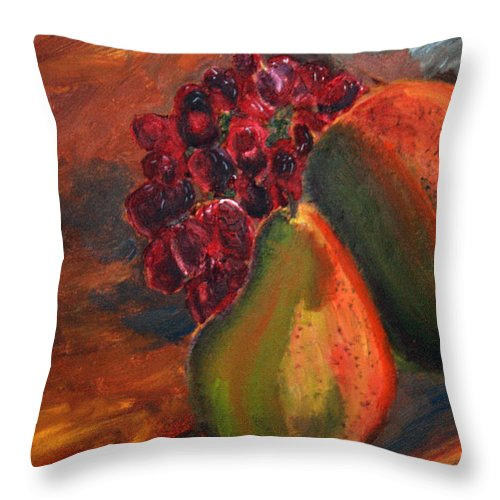 Still Life Throw Pillow featuring the painting Pears And Grapes In The Lamplight by Michael Helfen
