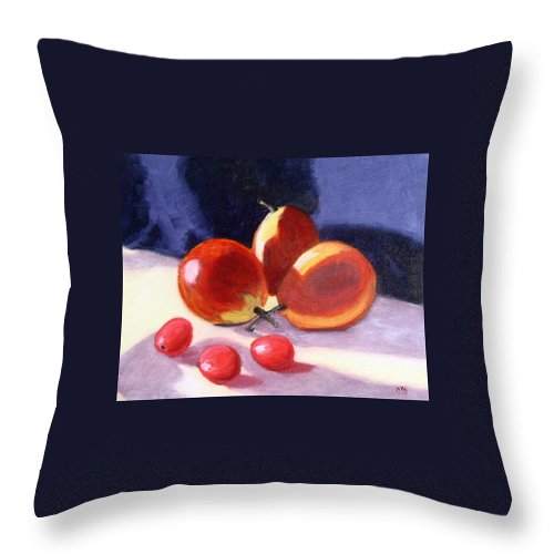 Pear Throw Pillow featuring the photograph Pears And Grapes by Natalie Rotman Cote