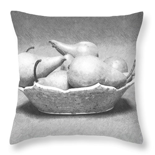 Pencil Throw Pillow featuring the photograph Pears In Bowl by Frank Wilson