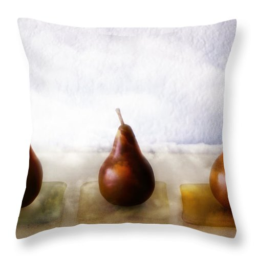 Pear Throw Pillow featuring the photograph Pears In The Clouds by Carol Leigh