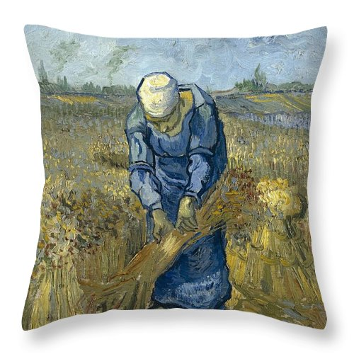 1889 Throw Pillow featuring the painting Peasant Woman Binding Sheaves - After Millet by Vincent van Gogh