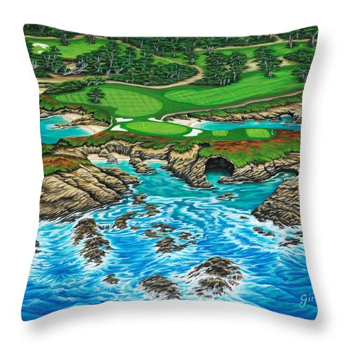 Ocean Throw Pillow featuring the painting Pebble Beach 15th Hole-north by Jane Girardot