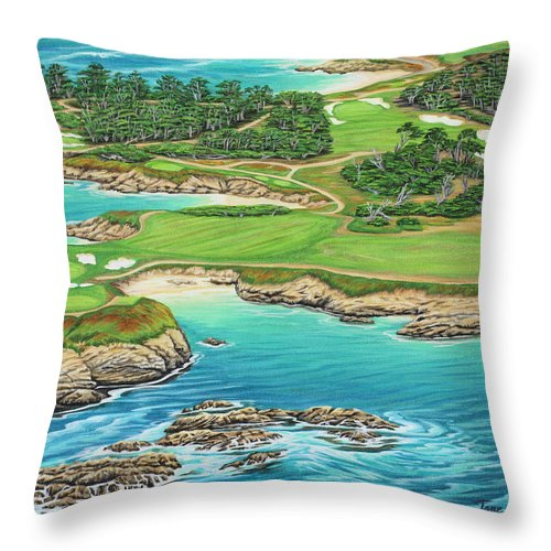 Ocean Throw Pillow featuring the painting Pebble Beach 15th Hole-south by Jane Girardot