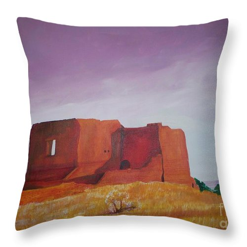 Western Throw Pillow featuring the painting Pecos Mission Landscape by Eric Schiabor