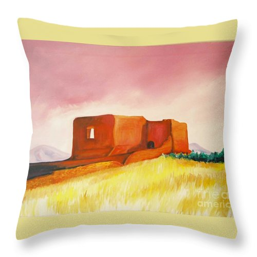 Western Landscapes Throw Pillow featuring the painting Pecos Mission Nm by Eric Schiabor