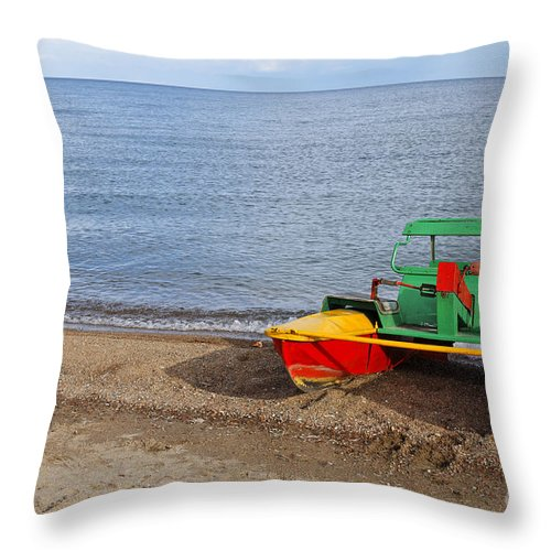 Pedalo Throw Pillow featuring the photograph Pedalo On The Shore Of Lake Issyk Kul In Kyrgyzstan by Robert Preston