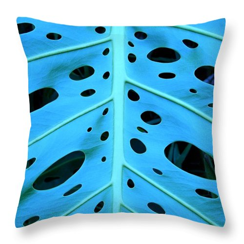 Blue Throw Pillow featuring the photograph Peek-a-boo Leaf by Mary Deal