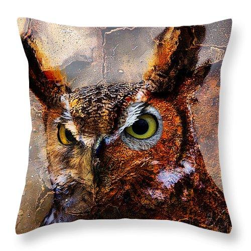Owl Mixed Media Throw Pillow featuring the mixed media Peeking Owl by Marvin Blaine