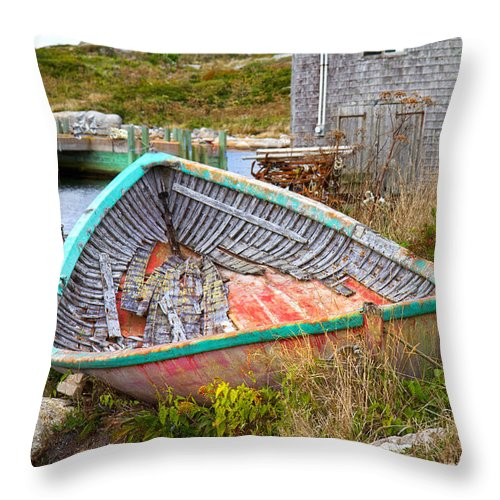Peggy's Throw Pillow featuring the photograph Peggy's Cove 11 by Betsy Knapp
