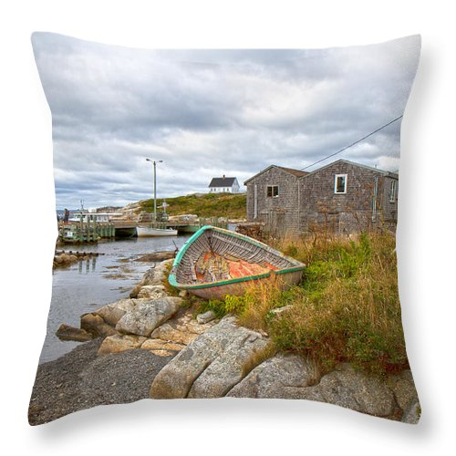 Peggy's Throw Pillow featuring the photograph Peggy's Cove 12 by Betsy Knapp