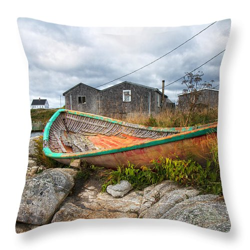 Peggy's Throw Pillow featuring the photograph Peggy's Cove 13 by Betsy Knapp