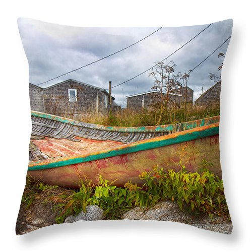 Peggy's Throw Pillow featuring the photograph Peggy's Cove 14 by Betsy Knapp