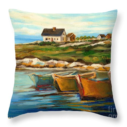 Peggys Cove Throw Pillow featuring the painting Peggys Cove With Fishing Boats by Carole Spandau